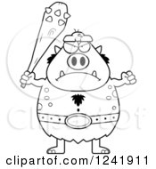 Clipart Of A Black And White Mad Chubby Troll Holding A Club Royalty Free Vector Illustration by Cory Thoman