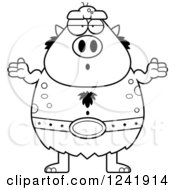 Clipart Of A Black And White Careless Shrugging Chubby Troll Royalty Free Vector Illustration by Cory Thoman