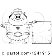Clipart Of A Black And White Chubby Happy Troll With A Stone Tablet Sign Royalty Free Vector Illustration by Cory Thoman
