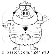 Clipart Of A Black And White Friendly Waving Chubby Troll Royalty Free Vector Illustration by Cory Thoman