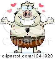 Clipart Of A Chubby Troll With Open Arms And Hearts Royalty Free Vector Illustration by Cory Thoman