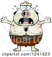 Clipart Of A Scared Screaming Chubby Troll Royalty Free Vector Illustration