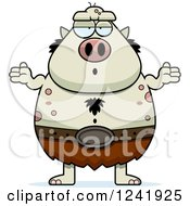 Clipart Of A Careless Shrugging Chubby Troll Royalty Free Vector Illustration