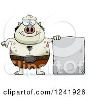 Clipart Of A Chubby Happy Troll With A Stone Tablet Sign Royalty Free Vector Illustration by Cory Thoman