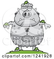 Clipart Of A Stone Chubby Troll Statue Royalty Free Vector Illustration by Cory Thoman