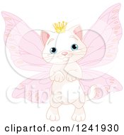 Clipart Of A White Fairy Princess Cat Royalty Free Vector Illustration