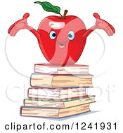 Clipart Of A Cheering Red Apple On A Stack Of Books Royalty Free Vector Illustration