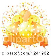 Clipart Of A Bunch Of Yellow And Orange Polka Dot Party Balloons Confetti And A Banner Royalty Free Vector Illustration