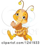 Clipart Of A Cute Bee Running Royalty Free Vector Illustration