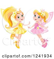 Clipart Of Happy Yellow And Pink Fairy Girls Royalty Free Vector Illustration