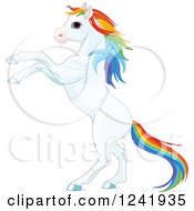 Clipart Of A White Rearing Horse With Rainbow Hair Royalty Free Vector Illustration