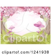 Clipart Of A Tree Canopy Of Cherry Blossoms And Pink Mushrooms Royalty Free Vector Illustration