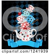 Clipart Of A Stacked Dripping Tea Cups And A Pot Over A Ribbon Banner And Checkers Royalty Free Vector Illustration by Pushkin