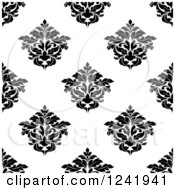 Clipart Of A Seamless Black And White Damask Background Pattern 30 Royalty Free Vector Illustration