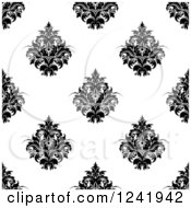 Clipart Of A Seamless Black And White Damask Background Pattern 35 Royalty Free Vector Illustration