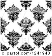 Clipart Of A Seamless Black And White Damask Background Pattern 34 Royalty Free Vector Illustration