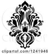 Clipart Of A Black And White Arabesque Damask Design 17 Royalty Free Vector Illustration