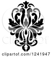 Clipart Of A Black And White Arabesque Damask Design 18 Royalty Free Vector Illustration