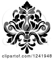 Clipart Of A Black And White Arabesque Damask Design 19 Royalty Free Vector Illustration by Vector Tradition SM