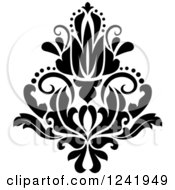 Clipart Of A Black And White Arabesque Damask Design 20 Royalty Free Vector Illustration