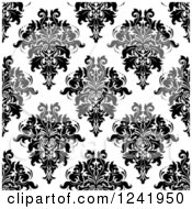 Clipart Of A Seamless Black And White Damask Background Pattern 31 Royalty Free Vector Illustration