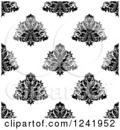 Clipart Of A Seamless Black And White Damask Background Pattern 33 Royalty Free Vector Illustration