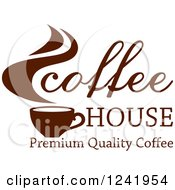 Clipart Of A Brown Coffee House Label 2 Royalty Free Vector Illustration