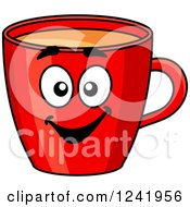 Clipart Of A Smiling Red Coffee Mug Character Royalty Free Vector Illustration by Seamartini Graphics