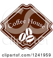 Clipart Of A Brown Coffee House Label 3 Royalty Free Vector Illustration