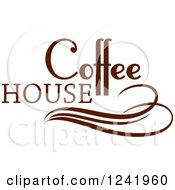 Clipart Of A Brown Coffee House Label 4 Royalty Free Vector Illustration