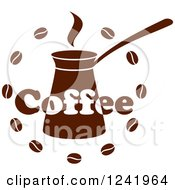Clipart Of A Brown Coffee Label Royalty Free Vector Illustration