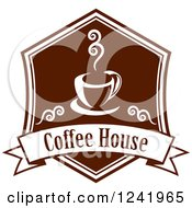 Clipart Of A Brown Coffee House Label Royalty Free Vector Illustration