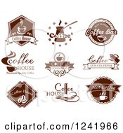 Clipart Of Brown Coffee Labels Royalty Free Vector Illustration by Seamartini Graphics