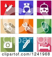 Clipart Of Colorful Square Medical Icons Royalty Free Vector Illustration