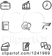 Clipart Of Black And White Business And Retail Icons Royalty Free Vector Illustration by Vector Tradition SM