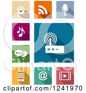 Clipart Of Colorful Square Media And Communication Icons Royalty Free Vector Illustration
