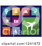 Clipart Of Colorful Square Travel Icons Royalty Free Vector Illustration