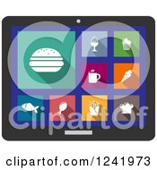 Clipart Of A Colorful Food Icons On A Tablet Computer Screen Royalty Free Vector Illustration