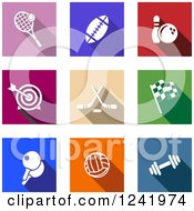 Clipart Of Colorful Square Sports Icons Royalty Free Vector Illustration by Seamartini Graphics