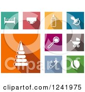 Clipart Of Colorful Square Baby Item Icons Royalty Free Vector Illustration