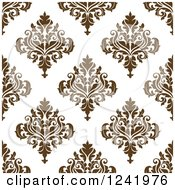 Clipart Of A Seamless Brown Damask Background Pattern Royalty Free Vector Illustration by Seamartini Graphics