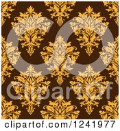 Clipart Of A Seamless Yellow And Brown Damask Background Pattern Royalty Free Vector Illustration