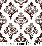 Clipart Of A Seamless Brown Damask Background Pattern Royalty Free Vector Illustration