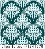 Clipart Of A Seamless Blue And Teal Damask Background Pattern Royalty Free Vector Illustration