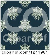 Clipart Of A Seamless Green And Teal Damask Background Pattern Royalty Free Vector Illustration