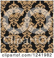 Clipart Of A Seamless Brown And Tan Damask Background Pattern Royalty Free Vector Illustration by Seamartini Graphics