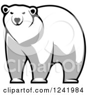 Clipart Of A Grayscale Polar Bear Royalty Free Vector Illustration by Seamartini Graphics