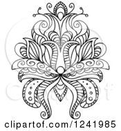 Clipart Of A Black And White Henna Lotus Flower 13 Royalty Free Vector Illustration