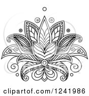 Clipart Of A Black And White Henna Lotus Flower 12 Royalty Free Vector Illustration