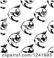 Clipart Of A Seamless Black And White Swirl Floral Background Pattern Royalty Free Vector Illustration by Seamartini Graphics